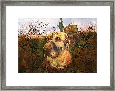 Camouflaged Hunters Framed Print