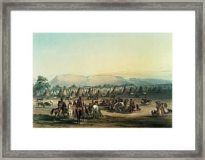 Camp Of Piekann Indians Colour Litho Framed Print