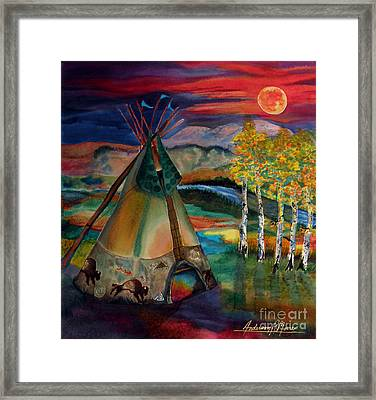 Camp Of The Hunting Moon Framed Print by Anderson R Moore