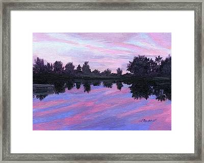 Framed Print featuring the painting Camp Sunset by Lynne Reichhart