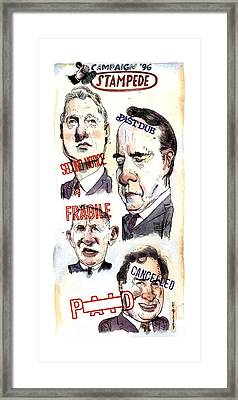 Campaign '96 Stampede Framed Print by Barry Blitt