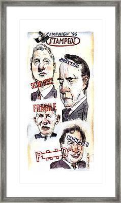 Campaign '96 Stampede Framed Print by Barry Blitt
