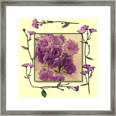 Campanula Framed With Pressed Petals Framed Print by Sandra Foster