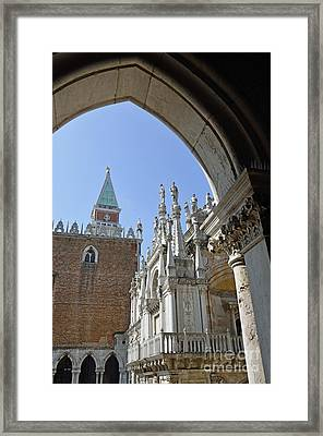 Campanile And Doges Palace Courtyard Framed Print