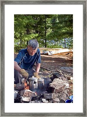 Camper Cooking Breakfast Framed Print by Jim West
