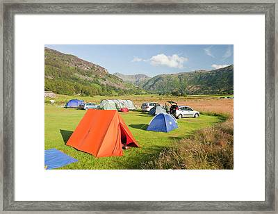 Campers On A Camp Site Framed Print by Ashley Cooper