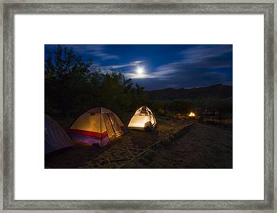 Campfire And Moonlight Framed Print