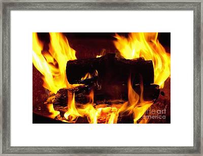 Campfire Burning Framed Print