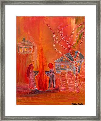 Campfire Date Or Silhouettes Of Innocence Framed Print by Vadim Levin