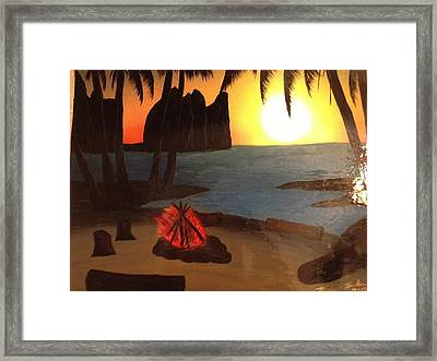Framed Print featuring the painting Campfire by Michael Rucker