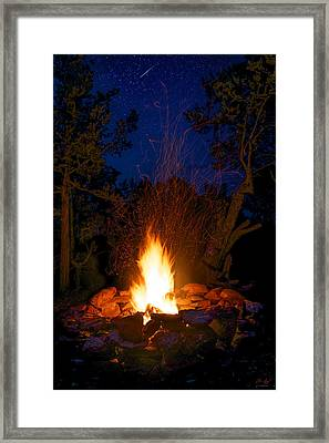 Campfire Under The Stars Framed Print