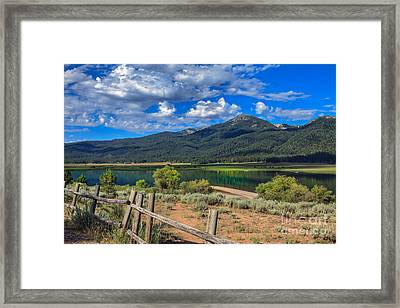 Campground View Of Lake Cascade Framed Print by Robert Bales