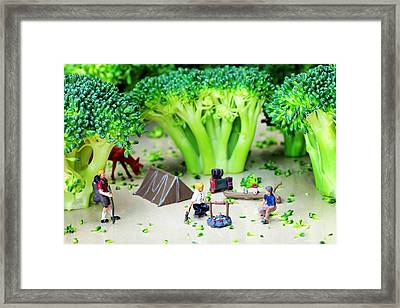 Camping Among Broccoli Jungles Miniature Art Framed Print by Paul Ge