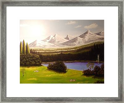 Camping By The Mountains. Framed Print