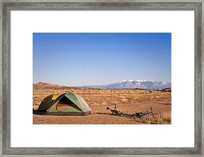Camping In The Desert Framed Print