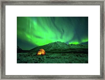 Camping Under Northern Lights Framed Print by Piriya Photography