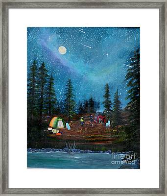 Framed Print featuring the painting Camping Under The Stars by Myrna Walsh