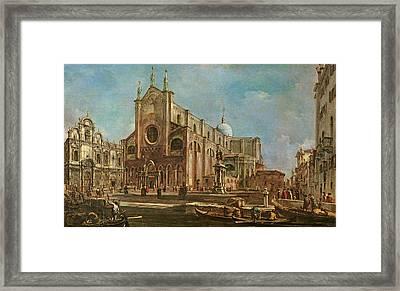 Campo Dei Santi Giovanni E Paolo And The Scuola Grande Di San Marco, Venice Oil On Canvas Framed Print by Francesco Guardi