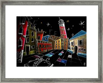 Campo Sant'angelo - Fine Art Venice Drawings Framed Print by Arte Venezia