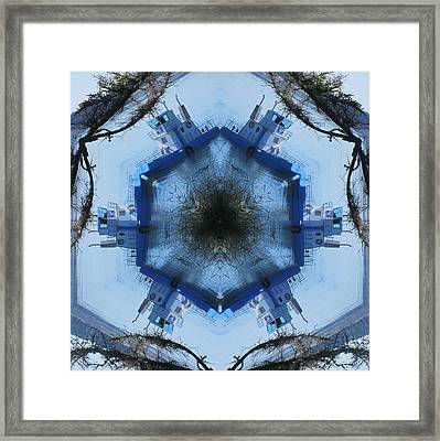 Framed Print featuring the digital art Campobello Island Blue Ferry by Trina Stephenson