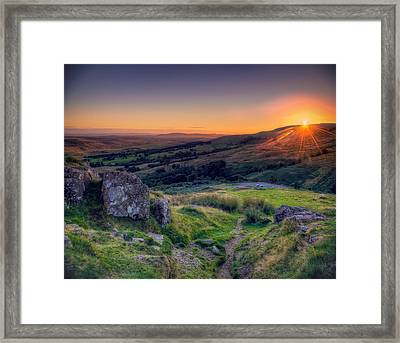 Campsies Sunset In Scotland Framed Print by Ray Devlin