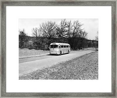 Campus Coach Line Bus Framed Print by Underwood Archives