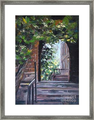 Campus Passage Framed Print by Lori Pittenger