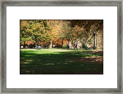 Campus Study Time - Davidson College Framed Print by Paulette B Wright