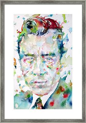 Camus - Watercolor Portrait Framed Print by Fabrizio Cassetta