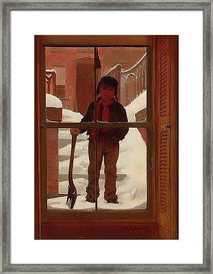 Can I Shovel Off The Snow Framed Print by Mountain Dreams