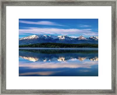 Canada, Alberta, Pyramid Lake In Jasper Framed Print