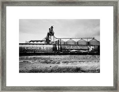 canada and saskatchewan freight grain trucks on canadian pacific railway Saskatchewan Canada Framed Print by Joe Fox