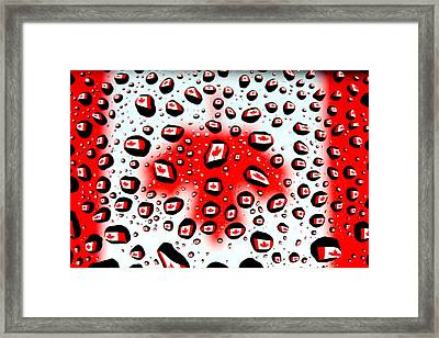 Canada Flag In Water Drops Framed Print by Paul Ge