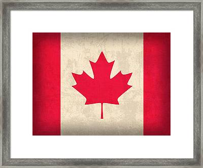 Canada Flag Vintage Distressed Finish Framed Print by Design Turnpike