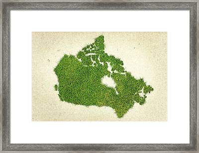 Canada Grass Map Framed Print by Aged Pixel