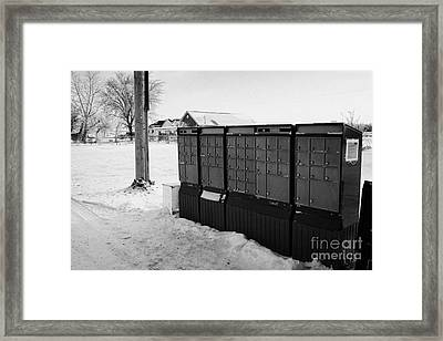 canada post post mailboxes in rural small town Forget Saskatchewan Canada Framed Print