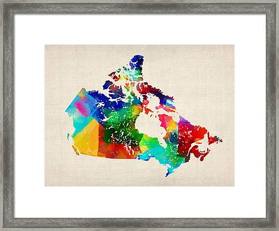 Canada Rolled Paint Map Framed Print by Michael Tompsett