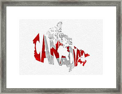 Canada Typographic Map Flag Framed Print by Ayse Deniz