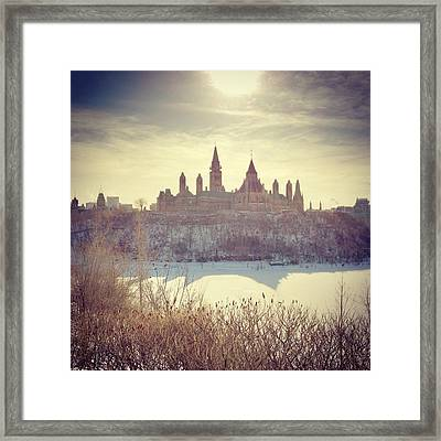 Canadas Parliament Buildings In Winter Framed Print