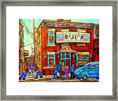 Canadian Art Fairmount Bagel With Hockey Montreal Winter Scene Montreal Paintings Carole Spandau Framed Print by Carole Spandau