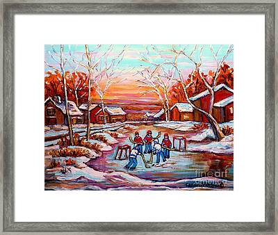 Canadian Art Pond Hockey Winter Near The Village Landscape Scenes Carole Spandau Framed Print by Carole Spandau