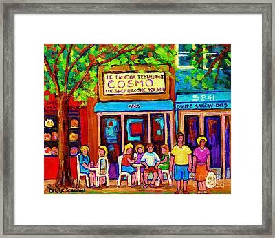 Canadian Artists Montreal Paintings Cosmos Restaurant Sherbrooke Street West Sidewalk Cafe Scene Framed Print by Carole Spandau
