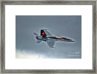Framed Print featuring the photograph Canadian Cf18 Hornet Fly By by Cathy  Beharriell