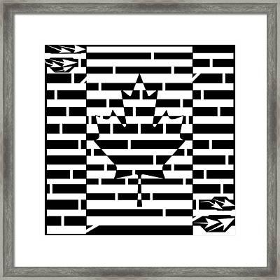Canadian Flag Maze  Framed Print by Yonatan Frimer Maze Artist