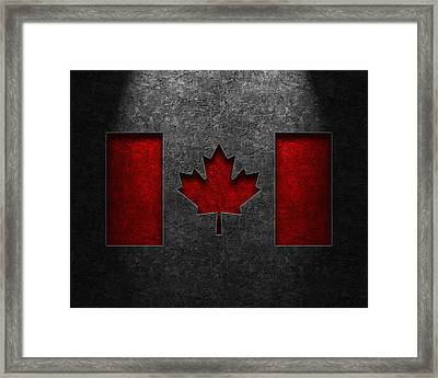 Canadian Flag Stone Texture Framed Print by Brian Carson