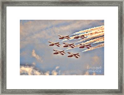 Framed Print featuring the photograph Canadian Forces Snowbirds 2013 Upside Down Formation by Cathy  Beharriell