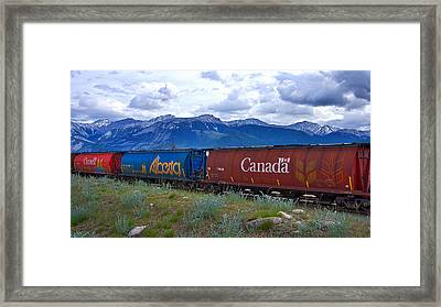 Canadian Freight Train In Jasper #2 Framed Print