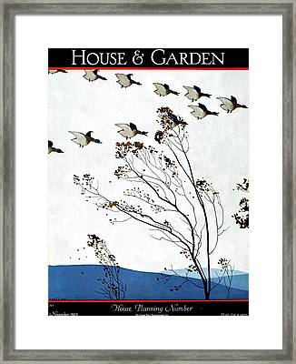 Canadian Geese Over Brown-leafed Trees Framed Print by Andr? E.  Marty