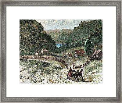 Canadian Landscape In The Eighteenth Framed Print by Prisma Archivo