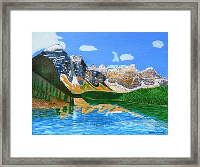 Canadian Mountains And Lake  Framed Print